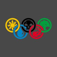 Shop Magic Olympic Mana magic the gathering t-shirts designed by MrZeesTees as well as other magic the gathering merchandise at TeePublic. Magic The Gathering, Cool Walls, Card Games, Olympics, Graphic Tees, Shirt Designs, Tapestry, Symbols, Wall Art