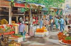 India Flower market street, oil painting, figures painting, by Dominique Amendola Indian Art Paintings, Cool Paintings, Paintings For Sale, Landscape Paintings, Watercolor Paintings, Watercolor Canvas, Composition Painting, India Street, India Art