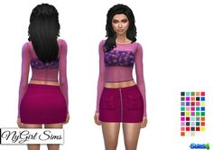 Clothing: Corduroy Zip Up Skirt with Pockets from NY Girl Sims Skirts With Pockets, Mini Skirts, Sims 4 Blog, Sims 4 Clothing, Female Clothing, Sims 4 Studio, Sims 4 Update, Sims 4 Cc Finds, Toddler Hair