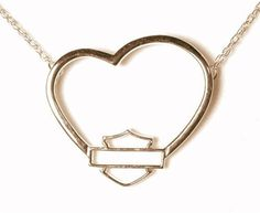 H-D Stamper Women's Yellow Gold Heart Necklace w/Bar Shield. Harley Gear, Harley Bikes, Harley Davidson Jewelry, Harley Davidson Bikes, Harely Davidson, Harley Davidson Pictures, Biker Love, Biker Chick, Heart Of Gold