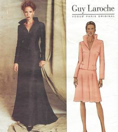 Guy Laroche Vogue Paris Original Sewing Pattern 2607 Womens Formal Jacket and Long or Short Skirt Size 12 14 16 Bust 34 36 38