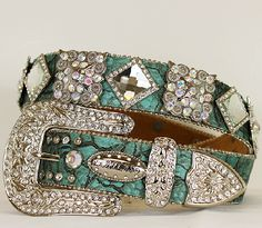 """COWGIRL BLING WESTERN BELT COLOR: TURQUIOSE RHINESTONE CRYSTAL FLOWER EDGED BUCKLE RHINESTONE SQUARES AND CONCHOS ALONG 1 1/2"""" BELT STRAP EASY SCREW ON BELT STRAP EASY TO SIZE ALL STONES AND STUDS ARE"""