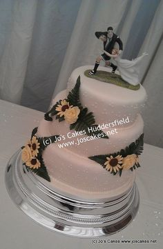 Three Tier Sunflowers Ivory Wedding Cake by Jo's Cakes, via Flickr