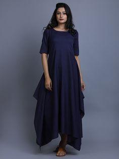 Navy Cotton Linen Asymmetric Dress