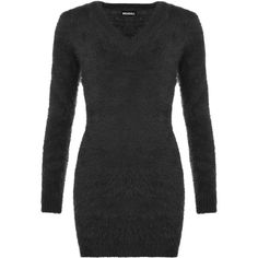 WearAll V-Neck Fluffy Jumper (£19) ❤ liked on Polyvore featuring tops, sweaters, black, v neck sweater, v-neck tops, stretchy tops, long sleeve sweater and bodycon tops Long Sleeve Sweater, Long Sleeve Tops, Bodycon Tops, Ss16, Jumpers, V Neck Tops, High Neck Dress, Trends, Polyvore