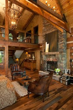 flexible log cabin interior design ideas for modern farmhouse or your tiny house design Log Cabin Living, Log Cabin Homes, Log Cabins, Cabin Interior Design, Log Home Designs, Cabin In The Woods, Boho Home, Timber House, Cabins And Cottages