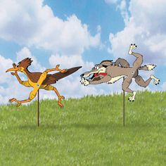 """Roadrunner & Coyote Whirligig Patterns.The classic chase is on in your yard for all to enjoy! Full-size, easy-to-follow patterns. Largest is 9""""H x 21""""W x 8""""D. 2 Designs! Parts Req'd: Kit (2) H-660.  Pattern #1955  $7.95  ( crafting, crafts, woodcraft, pattern, woodworking, yard art ) Pattern by Sherwood Creations"""