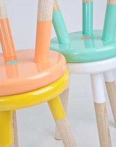 Estos taburetes con asientos en pastel. Tendencias 2015