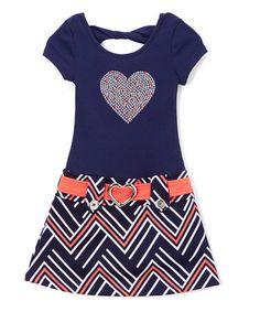 Navy & Coral Heart Drop-Waist Dress - Girls