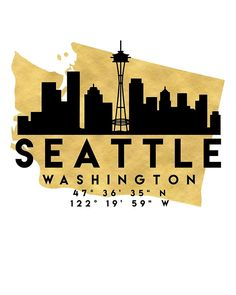 SEATTLE WASHINGTON SILHOUETTE SKYLINE MAP ART -  The beautiful silhouette skyline of Seattle and the great map of Washington in gold, with the exact coordinates of Seattle make up this amazing art piece. A great gift for anybody that has love for this city.  seattle washington downtown silhouette skyline map coordinates souvenir gold