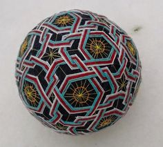 Handmade Temari ball Colors: very dark (almost black) blue (base); white, red, turquoise, light brown and light pink Circumference: 24 cm/9.44 inches Seen among another Temari ball in the last image