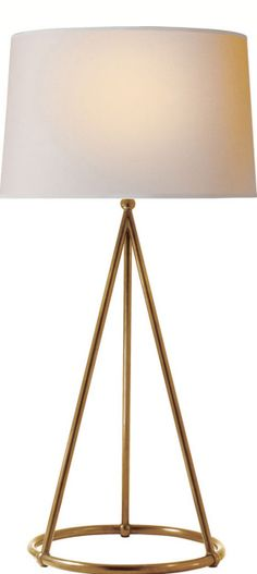 Nina Tapered Table Lamp in Hand-Rubbed Antique Brass with Natural Paper Shade