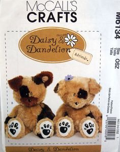 Daisy And Dandelion Plush Dogs McCall's Crafts by NeedANeedle, $6.75