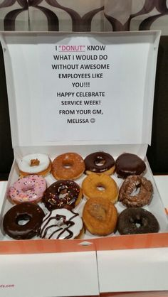 """Employee recognition program---- I """"donut"""" know what I would do with out awesome employees like you! Employee Appreciation Gifts, Employee Gifts, Volunteer Appreciation, Teacher Appreciation Week, Gifts For Employees, Incentives For Employees, Happy Employees, Employee Incentive Ideas, Teacher Appreciation Breakfast"""