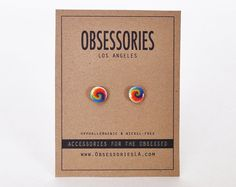 Tie-Dye boucles d'oreilles Hippie boucles par ObsessoriesLA sur Etsy