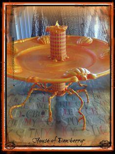 House of Dewberry: Dollar Store Halloween Craft Orange Pumpkin Serving Tray