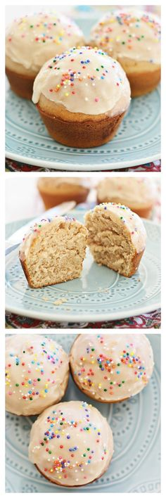 Glazed Doughnut Muffins recipe by combining two favorites into one treat: doughnut, muffins, and glazed with sugar. Sinfully good and you'll want Just Desserts, Delicious Desserts, Dessert Recipes, Yummy Food, Doughnut Muffins, Sweet Bread, Baking Recipes, Muffin Recipes, Brownies