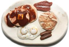 Polymer Clay Bacon and Egg Breakfast Fake Food Magnet