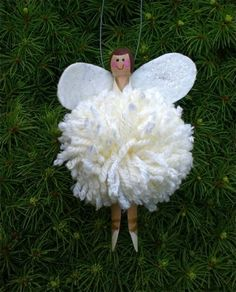 How to Make a Christmas Angel / Fairy Tree Decoration / Pom pom fairy