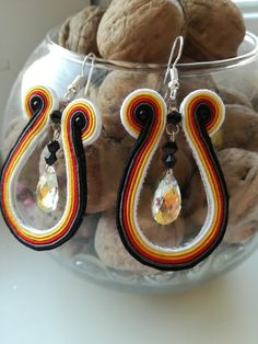 Autumn soutache earrings with swarovski crystal