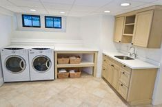 The basement laundry room doesn't have to lack style. These plenty basement laundry room ideas 2019 offer easy design for a better laundry room. Laundry Room Remodel, Laundry Room Cabinets, Laundry Room Organization, Wood Cabinets, Unfinished Basement Laundry, Best Flooring For Basement, Basement Kitchen, Rustic Basement, Small Laundry Rooms