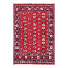 Herat Oriental Pakistani Hand-knotted Tribal Bokhara Wool Rug (6' x 8'10) (Handmade Bokhara Wool Rug), Grey (Natural Fiber, Geometric)