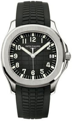 Patek Philippe 5167A-001 Aquanaut in Stainless Steel on Rubber band. Stainless Steel case. Black Rubber bracelet. Black dial. Fixed bezel. Scratch Resistant Sapphire crystal. Fold-over clasp. Automatic movement. 40mm case diameter. Water Resistent to 120m / 400ft. Sapphire-crystal case back. Applied gold numerals with luminescent coating.