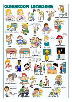 Classroom Language Picture Dictionary worksheet - Free ESL printable worksheets made by teachers Kids English, English Lessons, Learn English, Classroom Rules, Classroom Language, In The Classroom, Classroom Commands, Apple Classroom, Education English