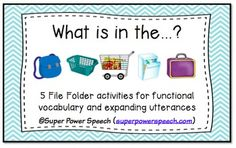 What is in the ? is a great way to work on functional vocabulary, asking questions, answering questions, learning preposition on, and expanding utterances. These activities are hands-on, colorful, and great for early language learners!Included in this download are the printables for you to create 5 file-folder activities:What is in the backpack? (school supply vocabulary)What is in the basket? (laundry vocabulary)What is in the cart? (grocery store vocabulary)What is in the dishwasher?…