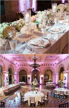 Chic wedding reception idea with gorgeous lighting; Photo: Shea Christine Photography
