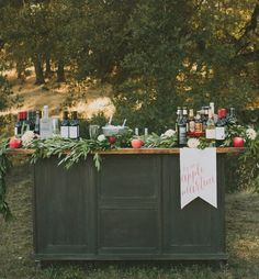 Take the rustic chic look to the outdoors for your next event! These vintage-living trends look lovely outside. Pull up a few logs for guests to sit on, use an old farmhouse table with mix and match chairs, wrap on old ladder with string lights, and more! These outdoor entertaining ideas look perfect amidst nature.