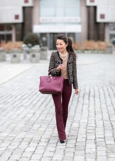 15 professionally polished winter office outfits you should copy. Winter Office Outfit, Winter Outfit For Teen Girls, Winter Outfits For Work, Office Outfits, Work Outfits, Pretty Outfits, Burgundy Pants, Extra Petite, Petite Pants