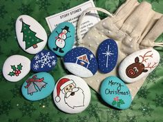 Christmas song story stones - holiday story stones - christmas story stones - hand painted rocks by alleluiarocks on etsy Kids Toys For Christmas, Popular Christmas Songs, Christmas Rock, A Christmas Story, Christmas Crafts, Rock Painting Ideas Easy, Rock Painting Designs, Stone Crafts, Rock Crafts