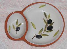 Vtg Ceramic Art Pottery Olive Oil Dipping Bowl Portugal Signed Isabel David Dish