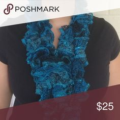 🍂SALE🍂Handmade Blue Ribbon Scarf Handmade! There are sequins that come with the fabric. Ice blue and navy. 🎄Great Christmas gift!🎄 ⭐️Use like button to get price drop notifications! ❤️ ⭐Bundle to save   ⭐️Personalized bundles!  ⭐️ Use the offer button ⭐️Same day shipping ⭐️ Smoke free home 🚫 No PayPal  🚫 I don't sell on any other apps 🚫 No trades Accessories Scarves & Wraps