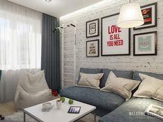 Двухкомнатная квартира в Москве «Голубая дымка». Гостиная