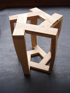 The Pentagon Stool is composed of five identical elements connected by a dry interlocking system. Itamar Burstein.