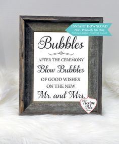 Bubbles Wedding Sign INSTANT download 8x10 Blow by RecipeBox