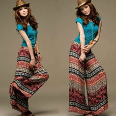 Aliexpress.com : Buy National style totem printed baggy pants bohemia loose wide legs pants trouses for women free shipping from Reliable pa...