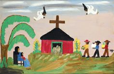 Self-taught artist Clementine Hunter painted secular as well as religious themes inspired by the Cane River region and the Melrose Plantation in Louisiana, where she lived for most of her life.   Hunter did not start painting until she was 50 years old.  This nativity scene demonstrates her ability to combine traditional religious imagery and the unique contemporary context of her community.   Clementine Hunter  Nativity Scene,  Oil on cardboard,   Gift of Margaret Robson, 2012  TR86.2012.3