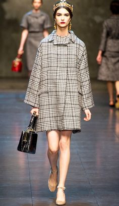 Mono Prince of Wales check Coat I Houndstooth Pattern Dolce & Gabbana Fall2013