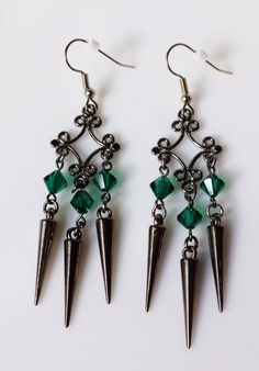 Emerald Halls Crystal and Spike Earrings, Emerald Green Swarovski Crystal and Gunmetal Spike Earrings by November Rose