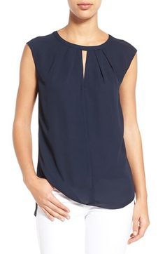 CeCe by Cynthia Steffe CeCe by Cynthia Steffe Pleat Keyhole Neck Blouse available at #Nordstrom
