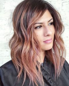 Pretty Chocolate Rose Gold Hair Color Ideas 20