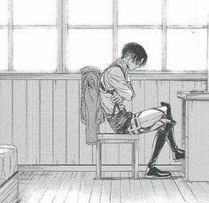Levi Ackerman, sitting, desk, sad; Attack on Titan