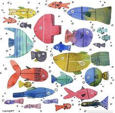 Watercolor Fish, Watercolor Illustration, Watercolor Flowers, Watercolour, World Lion Day, Pumpkin Pillows, Paper Birds, Small Art, Fish Art