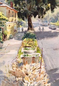 Neighborhood Cafe, Capitol Hill by Mike Kowalski Watercolor ~ 14 x 10