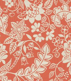 Upholstery Fabric-Waverly Garden Flurry Coral, , hi-res