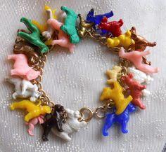 Vintage Plastic Dog Charms Bracelet