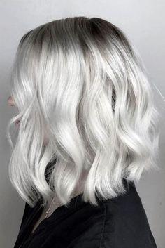 24 messy bob hairstyles for you cute hair! blonde hair looks White Ombre Hair, Silver Blonde Hair, Ombre Hair Color, Grey White Hair, Short White Hair, Lilac Hair, Gray Hair, Blue Hair, Messy Bob Hairstyles